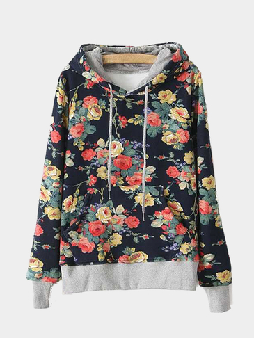 Hooded Design Random Floral Pattern Pocket Front Sweatshirt