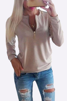 Khaki Causal Round Neck Zipper Long Sleeves T-shirt