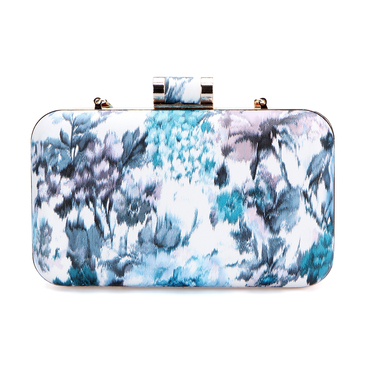 Blue Floral Print Pattern Clutch Bag with Gold-tone Hardware