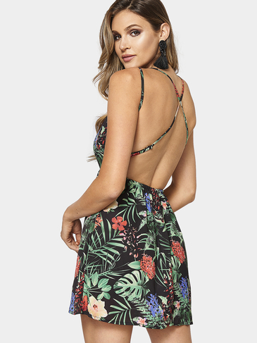Sexy Floral Print Cross Strap Backless Cami Dress