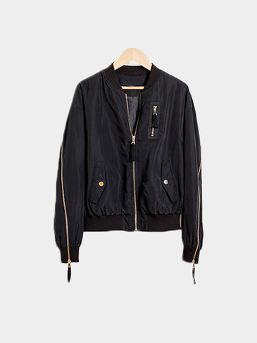 Black Zipper Stitching Jacket