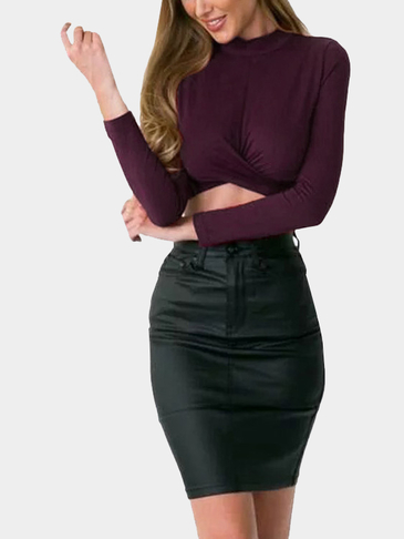 Burgundy Sexy Long Sleeves Irregular Hem Cropped Top