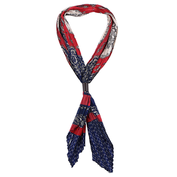 Paisley Pattern Pleated Lightweight Scarf in Red and Navy