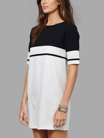 1/2 Maniche lunghe Colorblock Mini Dress