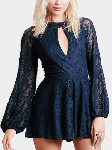 Navy Floral Lace Romper With Keyhole Detail