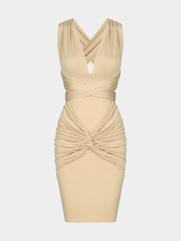 Sexy Backless Bodycon Vestido con cintura alta