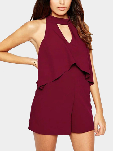 High Waist Open Back Self-tie Playsuit