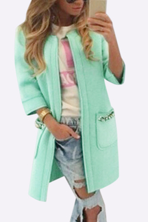 Green Fashion Round Neck Long Coat