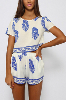 Shorts di stampa a fogliame blu Co-Ord Set