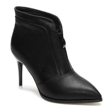 Black Zipper Front Design Stiletto Short Boots