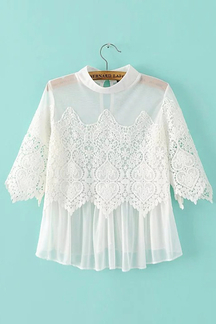 White Lace Insert Mesh Top