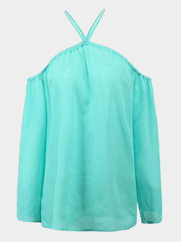 Green Sexy Cold Shoulder Halter Design Long Sleeves Blouse