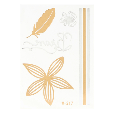 Feather Flower Pattern Metallic Temporary Body Tattoo Sticker
