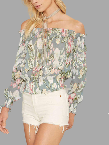 Off Shoulder Sweet Floral Print Top
