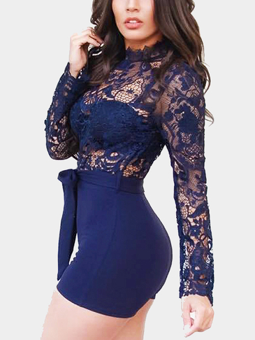 Blue Crew Neck Sexy See-through Lace Detail Party Palysuit