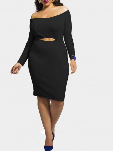 Black Plus Size Off The Shoulder Dress with Cut Out Front