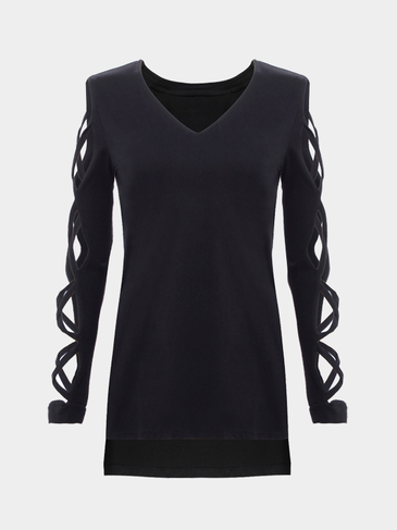 Long Sleeves T-shirt with Strappy Details