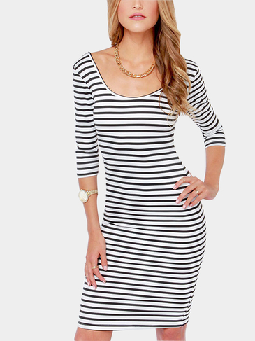 V-back Stripe Midi Dress