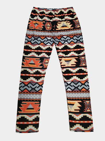 Geometrical Printing Leggings in Orange