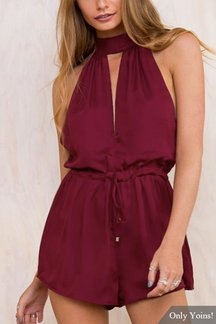 Self-tie Neck Sleeveless Cut Out Drawstring Waist Playsuit