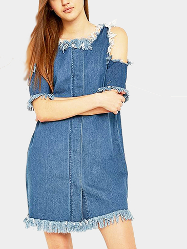 Loose Denim Dress With Tassel Details