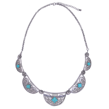 Embellished Turquoise Pendant Necklace