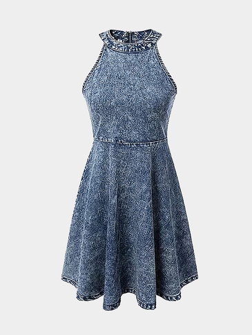 Sleeveless Halter Denim Midi Dress