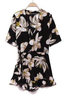 Random Floral Plunge V-neck Wrap Front Playsuit with 1/2 Length Sleeves