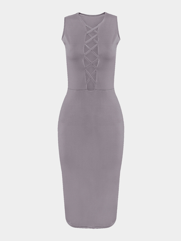 Grey Hollow Out Sleeveless Midi Dress