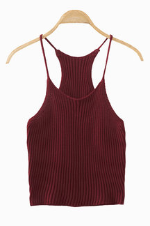 Red Fashion sin mangas Knit Top