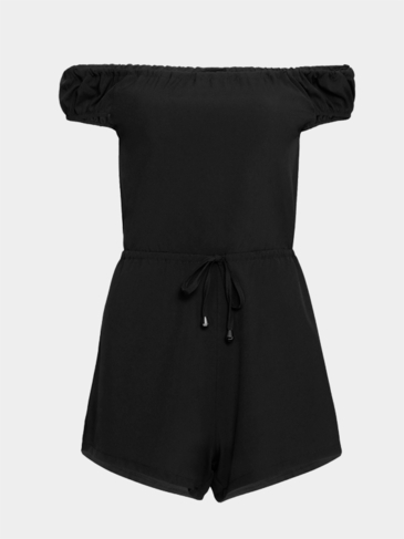 Black Sexy Off-shoulder Self-tie Playsuit