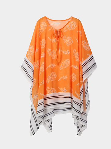 Tribe Print Irregular Hem Blouse