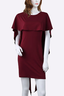 Burgundy Round Neck Bodycon Mini Dress With Flounced Layered