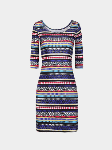 Multi Color Bohemia Print Bodycon Mini Dress