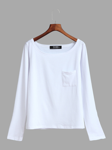 White One Shoulder Chest Pockets T-shirt