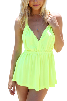 Yellow Backless Chiffon Playsuit