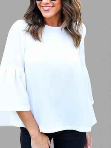 Casual Round Neck Lantern Sleeves Blouse in White
