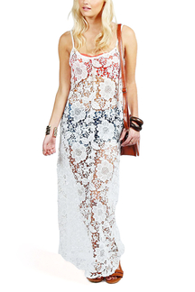 Corchet Lace Beach Cover Up Maxi Dress