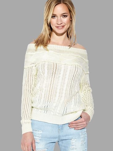 White Off Shoulder Hollow Long Sleeves Jumper