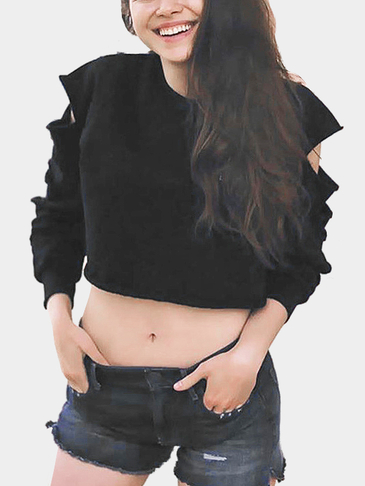 Black Short Length Hollow Out Sweatshirt