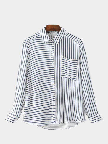 Classic Blue And White Stripe Pattern Shirt