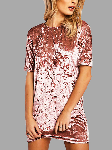Pink Velvet Round Neck Mini T-Shirt Dress