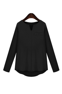 Plus Size V Neckline Long Sleeve Loose fit Blouse in Black
