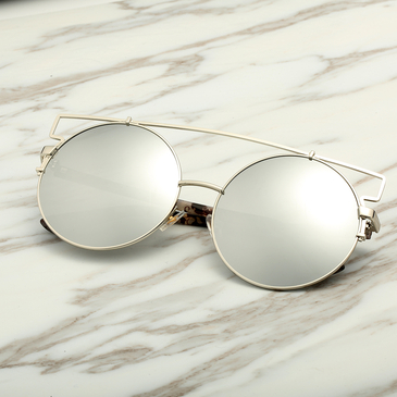 Oversized Round High Bar Grey Lens Sunglasses