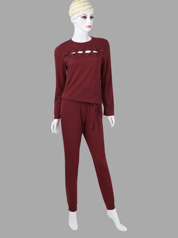 Burgundy Casual Lightweight Round Neck Hollow Lace-up Detials Co-ords