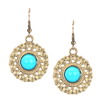 Artificial Stone Bronze Drop Earrings