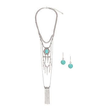 Artificial Turquoise Tassels Necklace