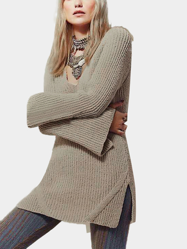 Khaki Loose Plunge Backless Split Design Sweater