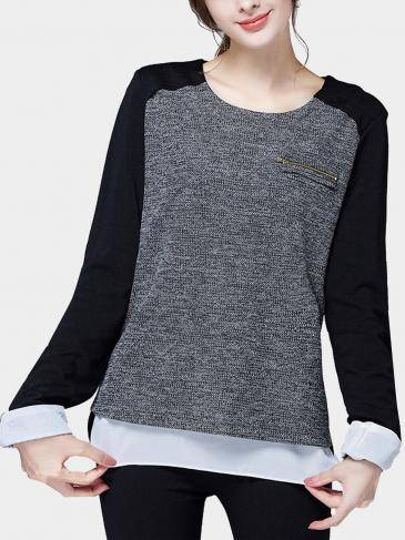 Grey Plus Size Pinot Knit Split Shirt
