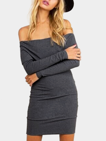 Spend Gray Sexy Off-shoulder Body-con Dress
